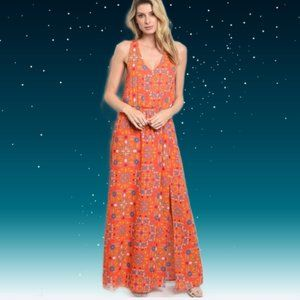 BOHO Flowered MAXI DRESS ~  Vibrant Coral Zing